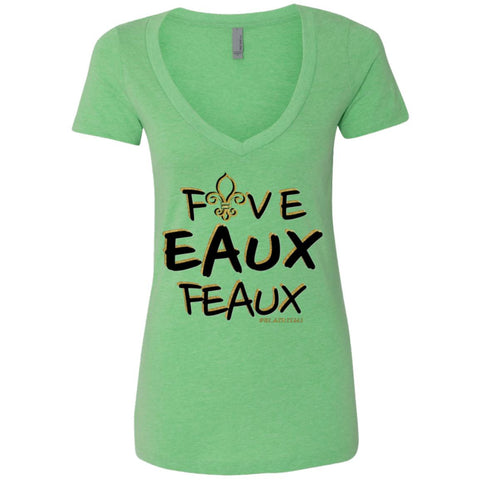FiveEauxFeaux Black-&-Gold Women's Deep V-Neck