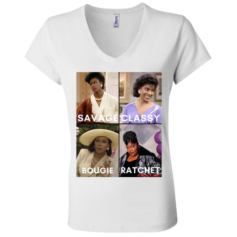 BLACK MOMMAS #SAVAGE Women's V-Neck T-Shirt