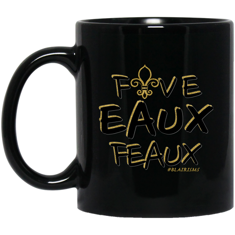 FiveEauxFeaux Black-&-Gold 11 oz. Black Mug