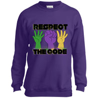 Respect The Code (Black) Youth Crewneck Sweatshirt