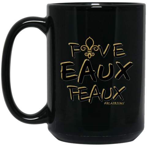 FiveEauxFeaux Black-&-Gold 15 oz. Black Mug