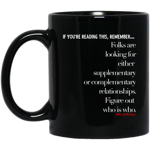 Figure Out Who Is Who Out 11 oz. Black Mug