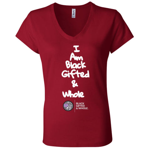 Black, Gifted, & Whole -LOGO-WHT Women's V-Neck