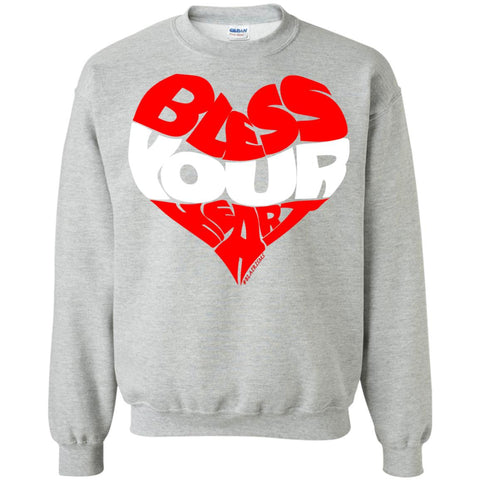 BLESS YOUR HEART WHT Crewneck Pullover Sweatshirt
