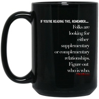Figure Out Who Is Who Out 15 oz. Black Mug
