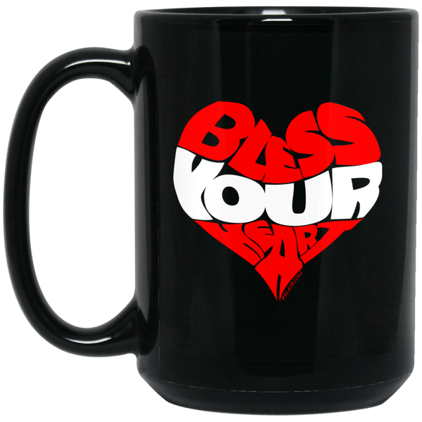 BLESS YOUR HEART WHT  15 oz. Black Mug