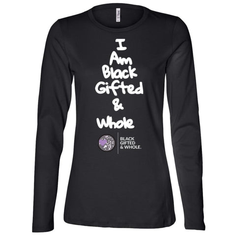 Black, Gifted, & Whole -LOGO-WHT Women's Longsleeve