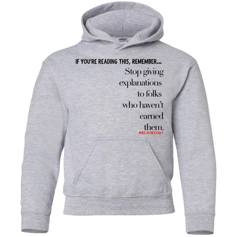 Earned Explanations Youth Pullover Hoodie