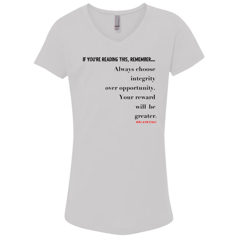 Integrity Over Opportunity Girl's V-Neck