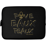 FiveEauxFeaux Black-&-Gold Laptop Sleeve - 10 inch