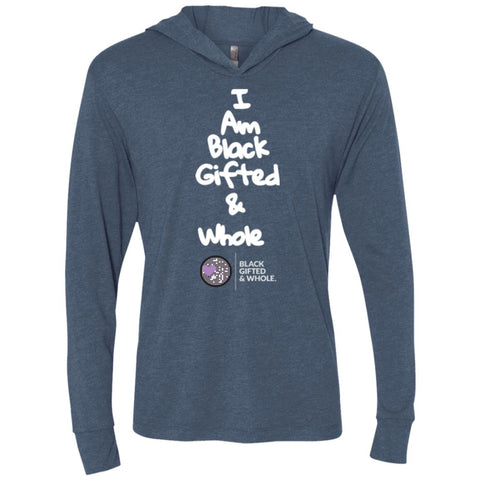 Black, Gifted, & Whole -LOGO-WHT Unisex Longsleeve Hooded T-Shirt