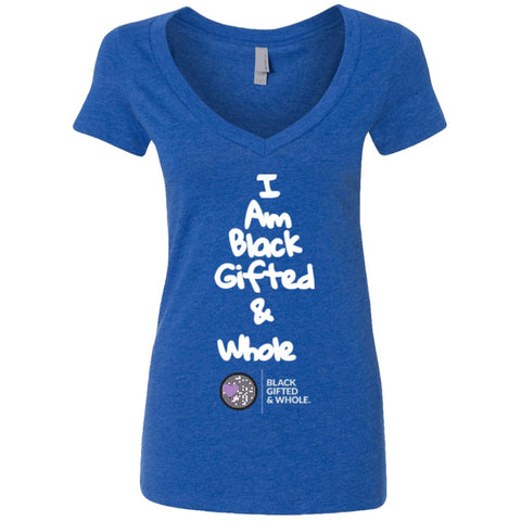 Black, Gifted, & Whole -LOGO-WHT Women's Deep V-Neck