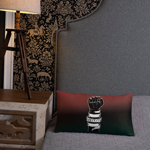 RED/BLACK/GREEN RESIST FIST THROW PILLOWS