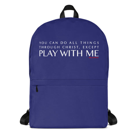 BLUE/WHITE YOU CAN DO ALL THINGS THROUGH CHRIST Backpack