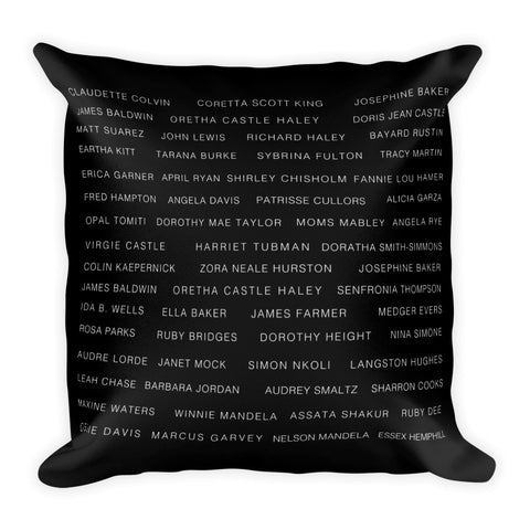 BLACK/WHITE ACTIVISTS ALLEAUXVER THROW PILLOW w/ stuffing