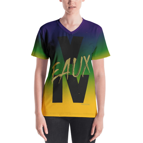 MARDI GRAS/BLACK/GOLD V EAUX IV Women's V-neck
