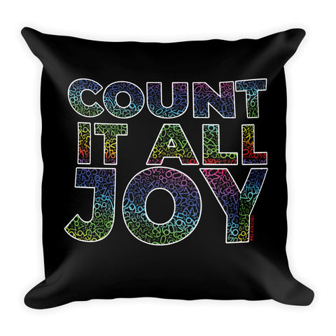 BLACK/RAINBEAUX COUNT IT ALL JOY THROW PILLOWS