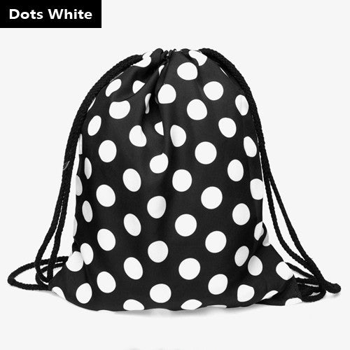 Polka-Dot Drawstring Bag