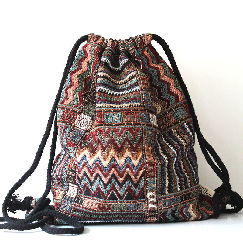 Southwestern Chic Shapes Drawstring Backpack