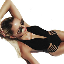 Black Deep V Neck One-Piece Swimsuit
