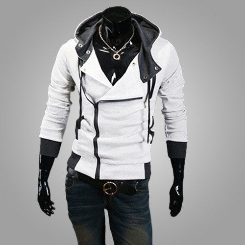 White Men's Zipper Hoodie