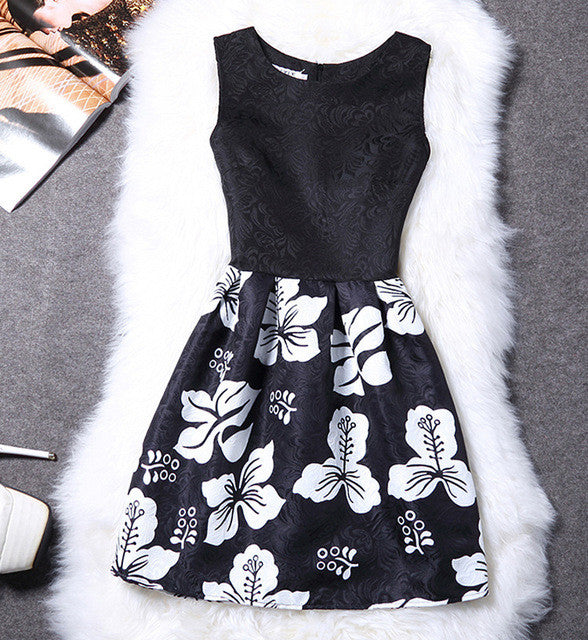 Black with White Flowers Graphic Sleeveless Summer Dress