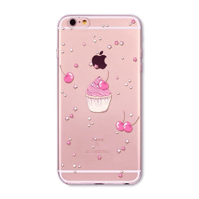 Cherry Pink Cupcake Clear Phone Case For 6 6s Plus 5 5s SE