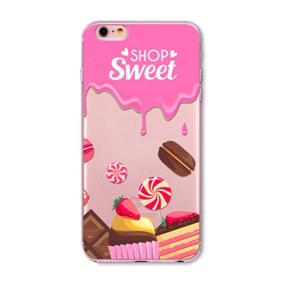 Sweet Shop Deserts Cake Icecream Macaroon Clear Phone Case For 6 6s Plus 5 5s SE