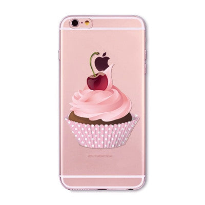 Cherry Cupcake Clear Phone Case For 6 6s Plus 5 5s SE