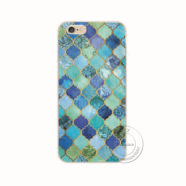 Blue Elegance Shell Phone Case For iPhone 7 7Plus 6 6s Plus 5 5s SE