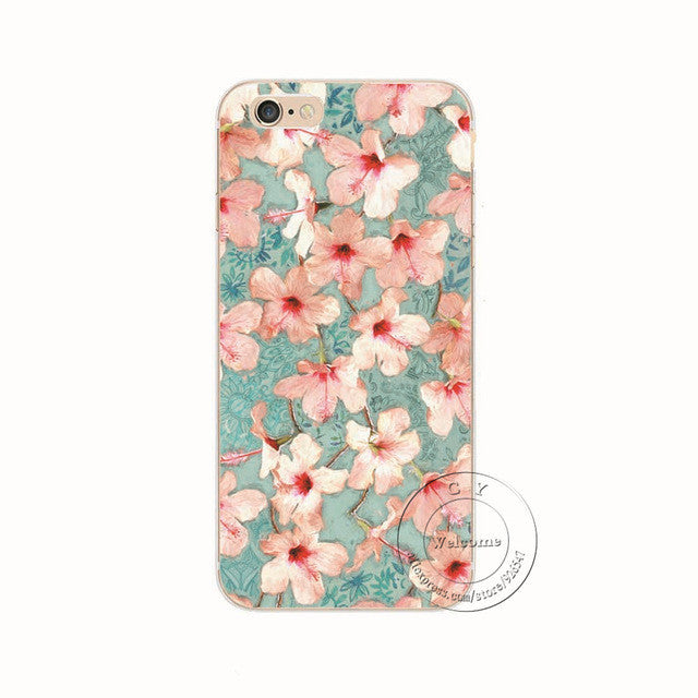 Pink Flower Honeysuckle Shell Phone Case For iPhone 7 7Plus 6 6s Plus 5 5s SE