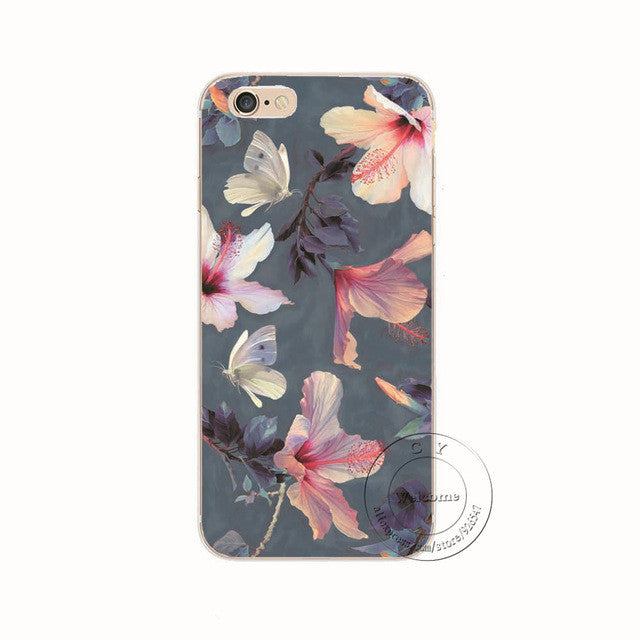 Pink Flowers Shell Phone Case For iPhone 7 7Plus 6 6s Plus 5 5s SE