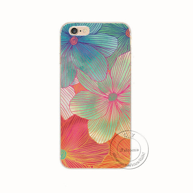 Flower Lines Shell Phone Case For iPhone 7 7Plus 6 6s Plus 5 5s SE