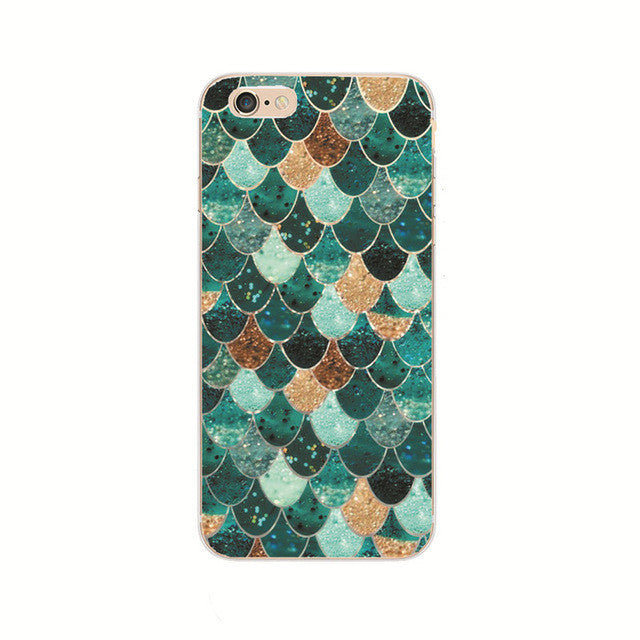 Elegant Green Gold Shell Phone Case For iPhone 7 7Plus 6 6s Plus 5 5s SE