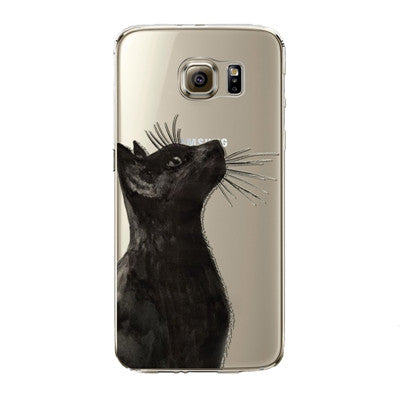Curious Black Cat Transparent Phone Cover for Samsung Galaxy S5 S6 S6Edge S6Edge