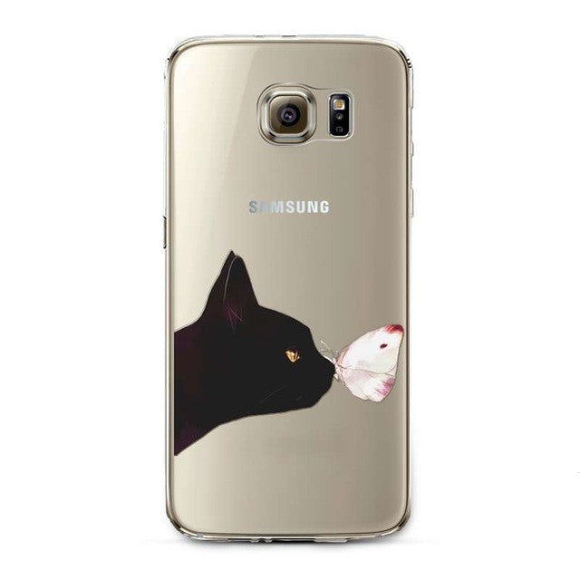Black Cat Smelling little White Mouse Transparent Phone Cover for Samsung Galaxy S5 S6 S6Edge S6Edge