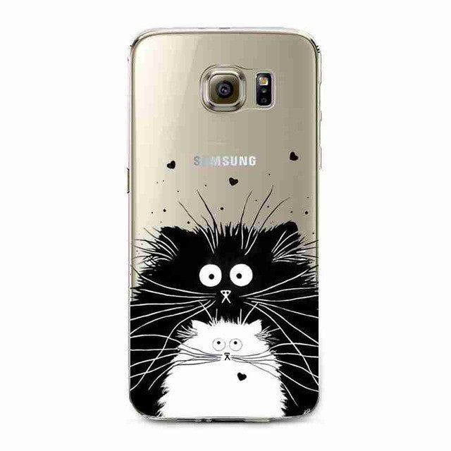 Big Black Cat And Little White Cat With Big Whiskers Transparent Phone Cover for Samsung Galaxy S5 S6 S6Edge S6Edge