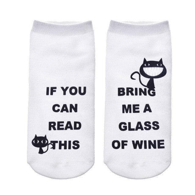 2017 Funny White Ankle Socks/Women/