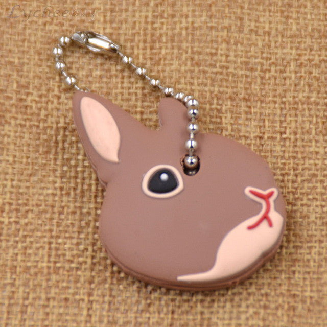 Cute Brown Rabbit Soft Rubber Key Cap/Cover Keychain