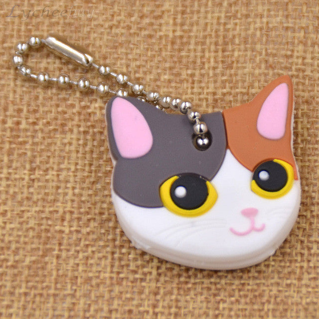 Cute Multi-Color Cat Soft Rubber Key Cap/Cover Keychain