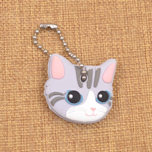 Cute Light Grey Cat Soft Rubber Key Cap/Cover Keychain