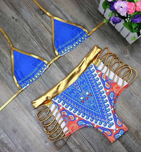 HOT! 2017 African Print Shiny Gold/Blue 2Piece Swimsuit