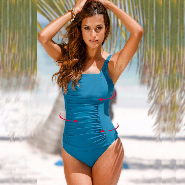 2017 New Brazilian Blue One Piece Swimsuit Up To 4XL