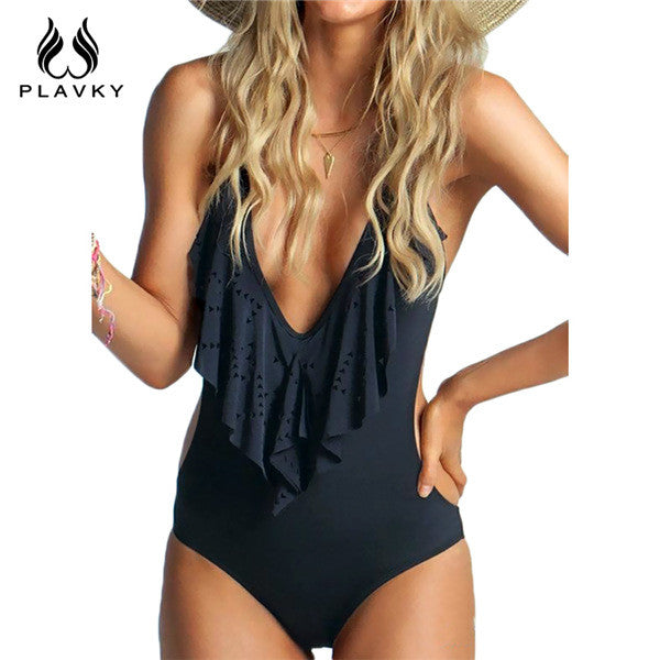 Sexy Black Plunging Neck Flouncing Ruffle Front
