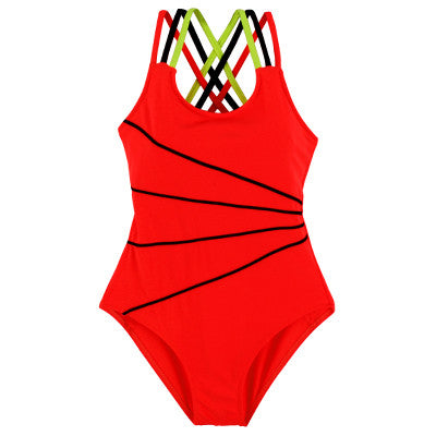 2017 Girls Orange Swimsuit One Piece