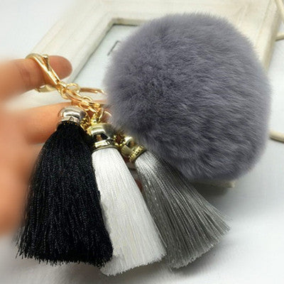 Hot! Pompom Tassell Grey Key Ring