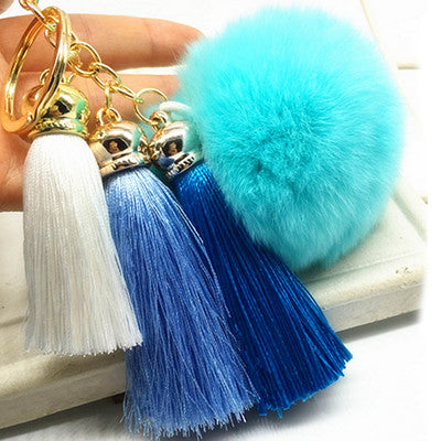 Hot! Pompom Tassell Blue Key Ring