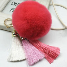 Hot! Pompom Tassell Dark Purple Key Ring