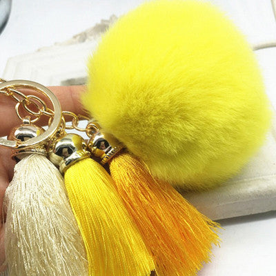 Hot! Pompom Tassell Bright Yellow Key Ring