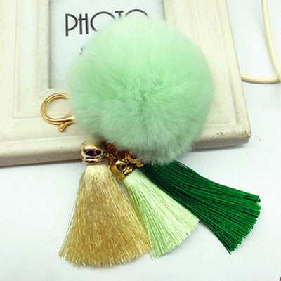Hot! Pompom Tassell Green Key Ring